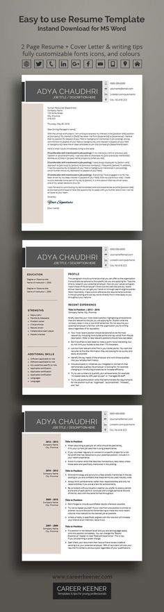 Modern Resume Template - the Amanda Microsoft word, Microsoft - ms word resume templates download