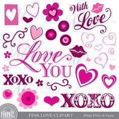 PINK LOVE Digital Clipart Vector Clip Art, Instant Download, Love Valentines Pink Rose Flowers