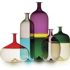 Finnish designer Tapio Wirkkala designed the Bolle series of vases for renowned art glass studio Venini & C. Glass in Murano, Italy in Verre Design, Glass Design, Glass Bottles, Glass Vase, Wine Bottles, Vodka Bottle, Glas Art, Vintage Design, Hand Blown Glass