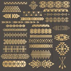 Tribal Borders Digital Clip Art - gold foil tribal aztec borders & elements png files for scrapbooking, invitations, photography templates:Not a big fan of the tribal prints, but I do like the arrows and triangles, the more symetrical patterns. Art Tribal, Tribal Prints, Scrapbooking Invitation, Digital Scrapbooking, Art Nouveau, Art Deco, Photography Templates, Image Clipart, Marquesan Tattoos