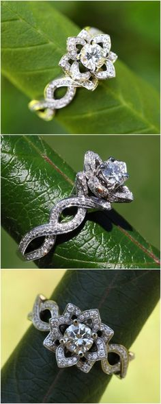 Flower Lotus Rose Diamond Engagement or Right Hand Ring1 / http://www.deerpearlflowers.com/floral-inspired-engagement-rings/