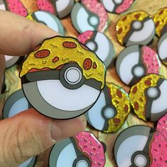 Pokeball Pizza Glitter - £8.00  /www.etsy.com/listing/452425126/pokeball-pizza-glitter-enamel-pin-badge