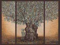 A mixed technique based on oil and gold metal color. Paintings on canvas with golden details by the greek artist Barbara Gerodimou. Artist Painting, Oil Painting On Canvas, Tree Canvas, Olive Tree, Tree Print, Triptych, Gold Paint, Love Is Sweet, Backdrops