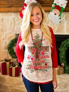 He Is The Reason Tee ~ $36 #shopNJB #christmastee #heisthereason #love Shop Now > http://nomijaneboutique.com/collections/tops/products/he-is-the-reason?variant=10984206404