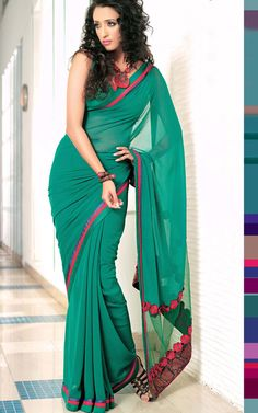 Fancy Green Colored Plain #Sarees  Check out this page now :-http://www.ethnicwholesaler.com/sarees-saris