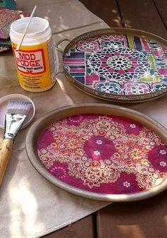 DIY bohemian home decor| Mod Podged Catch-All Trays by Young America Blog