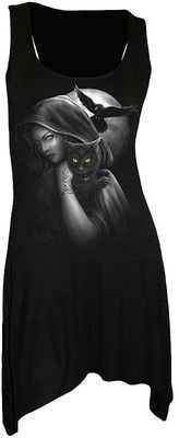 SPIRAL WITCH Long Top Shirt Mini Kleid Gothic Katze 106 24,99€