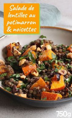 Lentil salad with pumpkin and Salade de lentilles au potimarron et noisettes Lentil salad with pumpkin and hazelnuts - Veggie Recipes, Salad Recipes, Vegetarian Recipes, Chicken Recipes, Cooking Recipes, Healthy Recipes, Spinach Recipes, Lentil Salad, Lentils