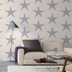 Borastaper Wallpaper Large Blue Stars - perfect for the Nursery | Nubie - Modern Baby Boutique