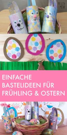 Crafts with children for spring & Easter Kindergarten Art Projects, Craft Projects, Simple Projects, Easter Egg Template, Butterfly Crafts, Easter Crafts For Kids, Children Crafts, Upcycled Crafts, Simple Art
