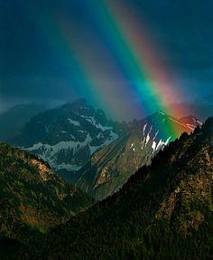 Mountain rainbow . Bavaria , DE.