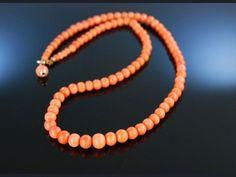 Classic Antique Coral Necklace! Italien um 1880, schöne Korallen Kette Sardegna spät Biedermeier
