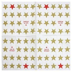 """CHRISTMAS STARS GOLD RED 3-PLY 20 PAPER NAPKINS SERVIETTES 13""""x13""""-33X33CM - Brought to you by Avarsha.com"""