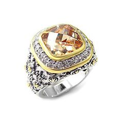 Luxury Silver Ring - Cathedral Setting with Champagne CZ, VORI07-04090