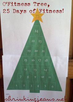 O'Fitness Tree, 25 Days of Exercise! A Holiday Fitness Advent Calendar. The website also has monthly workouts that seem simple enough to do!