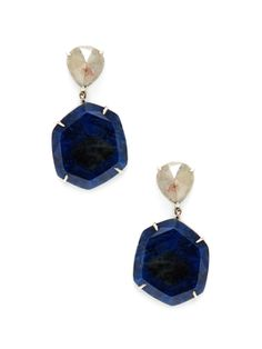 Diamond & Blue Star Sapphire Drop Earrings from Designer Showcase: Nina Runsdorf on Gilt