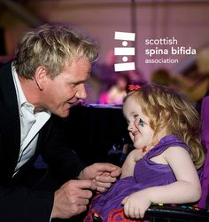 """Chef Gordon Ramsay of """"Hell's Kitchen"""" fame is, in fact, a softie at heart. He is Honorary Patron of the Scottish Spina Bifida Association and hosts a 5-star fundraiser each year. Love him!! :)"""