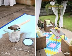 Before and After: A Bare Outdoor Patio Becomes a Cheerful Spot for Entertaining » Curbly | DIY Design Community