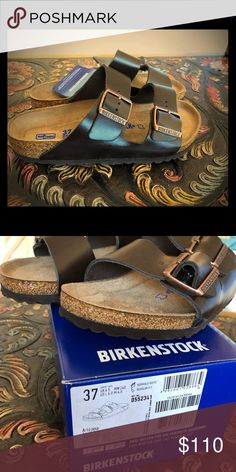 Birkenstock Arizona Softbed Brown Leather Sandals Birkenstocks even more comfortable with soft foot beds! Size 37 Regular Fit If you are not familiar with Birkenstock Sandals, be sure to check their website size chart to ensure the right fit. Posh size 37 is not the same American size as Birkenstock 37. Brand new with box Same day shipping before 3pm Birkenstock Shoes Sandals