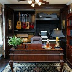 hidden recording studio - interesting concept for a home office; with a more modern style, this could work for us.