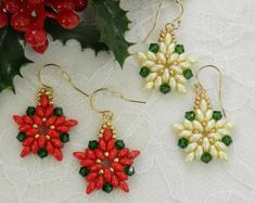 SALE Swarovski Beaded Christmas Poinsetia by LS4Swarovski on Etsy