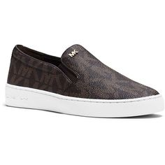 Michael Michael Kors Keaton Slip-On Leather Sneakers ($99) ❤ liked on Polyvore featuring shoes, sneakers, brown, platform shoes, slip on sneakers, michael michael kors shoes, brown shoes and brown sneakers