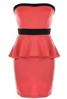 Coral Peplum Dress: Features a charming sweetheart neckline crowning figure-flattering princess seams, contrast black trim adding pop to the neck and waist area, flared peplum waist for a dramatic silhouette, and an exposed rear zipper to finish.