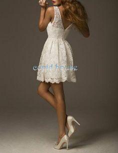 Short Lace Bridesmaid Dress V Back White Ivory Pink Prom Wedding Reception Party