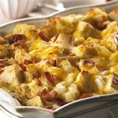 Cheesy Bacon and Egg Brunch Casserole Recipe. This one-dish brunch casserole is ideal for a crowd. Add a fruit salad and you can sit back and enjoy your company. Bacon Breakfast, Breakfast Dishes, Breakfast Time, Breakfast Recipes, Breakfast Ideas, Hangover Breakfast, Breakfast Energy, Hashbrown Breakfast, Country Breakfast
