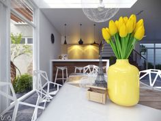 Dining Room Ideas:Yellow Vase Decor In Bright Dining Table Is The Best Choice Formal Diningroom Decor