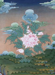 Lotus by Tashi Dhargyal Buddhist Symbols, Buddhist Art, Tibetan Art, Tibetan Buddhism, Lotus Sutra, Chinese Fabric, Lotus Art, Thangka Painting, Indian Art
