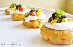 Sweet Potato Cakes & Sour Cream with Black Bean Salsa