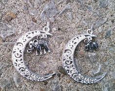 Elephants in the moonlight silver earrings £3.50