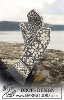 Men - Free knitting patterns and crochet patterns by DROPS Design Knitted Mittens Pattern, Knit Mittens, Knitted Gloves, Knitting Socks, Knitting Patterns Free, Free Knitting, Free Pattern, Crochet Patterns, Drops Design