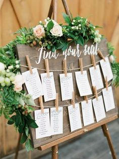 *SEATING CHART CARDS NOT INCLUDED* When you purchase our find your seat wedding sign, you will receive 2 strings of twine, and 15 mini 1 inch clothespins. Our find your seat sign is an easy and beautiful way to display your seating chart at your wedding. This sign is crafted and painted by hand on