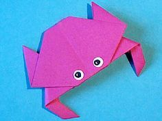Meerestiere basteln,  kostenlose Bastelvorlage, crab Origami Paper, Folding, Animal Origami Pattern, template, how to , step by step, Tutorial, kawaii, adorable, easy cute papercrafts for kids