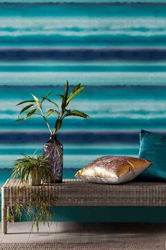 A fibrous wallcovering with a stunning shadow stripe effect. Shown here in the Teal blue and green colourway. Head over to WallpaperDirect today to order your sample and see the complete collection Teal Wallpaper, Blue Wallpapers, Brown Teal, Teal Blue, Graham Brown, True Colors, Texture, Green, Collection