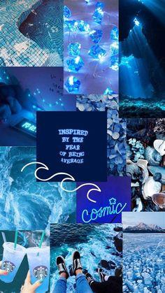 #macbook Wallpaper Aesthetic Collage Blue Blue Wallpaper