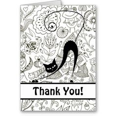 Black and White Cat and Garden Thank You Card