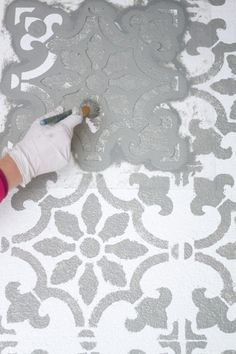 "Learn how to stencil a cement patio using the Fabiola Tile Stencil from Cutting Edge Stencils. <a href=""http://www.cuttingedgestencils.com/fabiola-tile-stencil-spanish-portugese-tiles-stencils.html"" rel=""nofollow"" target=""_blank"">www.cuttingedgest...</a>"