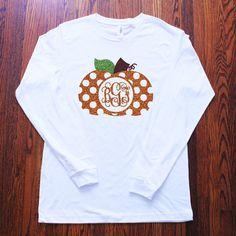 Women's Glitter Monogram Polka Dot Pumpkin Long Sleeve Tee - Name or Monogram