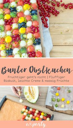 Bunter und fruchtiger geht's nicht! Hier gibt's das Rezept für einen klassi… It can not be more colorful and fruity! Here's the recipe for a classic fruitcake with melon, kiwi, nectarine, currants, blueberries and mango. Have fun baking yourself! Great Desserts, No Bake Desserts, Dessert Recipes, Sweets Cake, Cupcake Cakes, Mango Cake, Sweet Bakery, Caking It Up, Oatmeal Smoothies