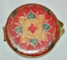 Vintage Tooled Leather Mirror Powder Compact Gilt Gold Red Green Puff | eBay