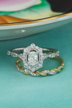 18 Uncommonly Beautiful Diamond Wedding Rings ❤️ diamond wedding rings white and rose gold vintage wedding set oval pave band ❤️ More on the blog: https://ohsoperfectproposal.com/diamond-wedding-rings/ #diamondweddingrings #weddingrings