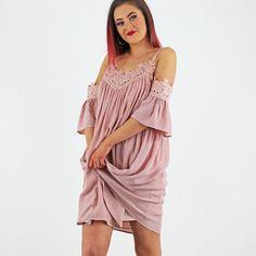 Pale Pink Crochet Trim Cold Shoulder Swing Dress