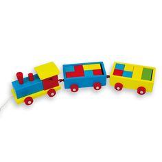 Precioso tren arrastre de madera, de la marca Andreu Toys con construcciones de madera a todo color. ¡Vuestros peques se lo pasaran en grande jugando con él! Este juguete estimula la motricidad global y la coordinación ojo-mano.