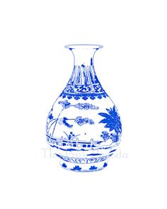 Blue and White Chinese Vase on White 8x10 Giclee.