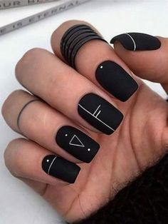 Here are some cute winter nail designs between black and silver glitter nails, black and gold glitter nails, and black marble nails designs. Marble Nail Designs, Black Nail Designs, Beautiful Nail Designs, Nail Art Designs, Nails Design, Black Acrylic Nails, Silver Glitter Nails, Matte Black Nails, Short Gel Nails