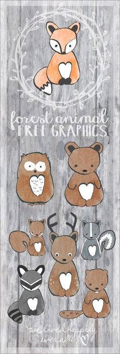 Free Forest Animal Free Graphics - owl, squirrel, deer, raccoon