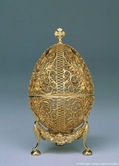 A Faberge Egg from the Kremlin Museum collection in Moscow, Russia, March 2001. The eggs were first designed in 1884 by the artist Peter Carl Faberge who gave one to a Russian czar who then gave it to his wife as an Easter gift. The wife loved it so much that she ordered them to be made each year for Easter. Faberge's primary source of inspiration for the designs came from historical artworks...